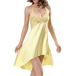HOT Sexy Women Ladies Satin Silk Lace Lingerie Sleepwear Fishtail Night  Dress Robe Nightgowns Babydoll Nightwear chemise de nuit 72bc3e3c7