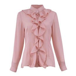 2cfeec267d0513 Mode Frauen Bluse Shirt Weiblich Langarm Chiffon Blusas Chic Elegante Dame  Lose Tops Chiffon Shirt WS9889W
