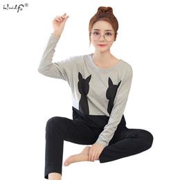 sexy long pajamas for women 2019 - Hot 2018 Spring Autumn Womens Pajama Sets O-Neck Cartoon Long Sleeve Women Sleepwear Pajamas Girls Nightgown for woman P