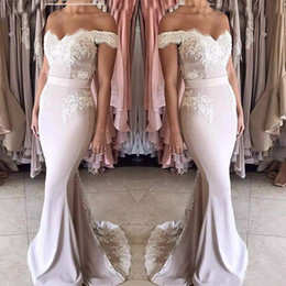 Wholesale 2018 New Blush Pink Lace Chiffon Bridesmaid Dresses Long Off shoulder Zipper Back Formal Party Gowns Sweet Girls Junior Bridesmaid Dress