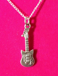 Discount silver electric guitars - Vintage Silver Electric Guitar Pendant Necklaces Charms Statement Collar Choker Long Necklaces Pendant Jewelry For Women
