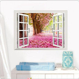 american blossoms NZ - 3D Cherry Blossoms Fake Windows Wall Stickers Removable Faux window view wall decal Wall Decal for Livingroom Bedroom