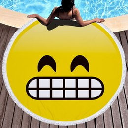 Emoji blankEts online shopping - 150cm Microfiber Emoji Beach Towel Round Large Beach Blanket Shawl Yoga Mat with Tassel Swimming Cover design