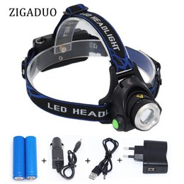 Wholesale Zoomable Modes Super Bright LED Headlamp Rechargeable Batteries Powered T6 L2 LED Head Lamp Fishing Hunting Light