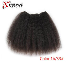 kinky hair weave light brown 2019 - Kinky Straight Hair Bundles For African Black Women 8inch 14inch Short Synthetic Hair Weave Kanekalon Hairs Wefts 1-4 pc