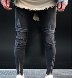 pantalon punk maigre pour les hommes achat en gros de-news_sitemap_home2019 hommes Biker déchiré Jeans skinny créateur de mode plis au genou point trou trou punk Slim Fit Denim Pants Casual pantalon à glissière lavé