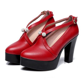 c4e69bd23a4 Hot Elegant comfort women pumps 2018 new fashion red T station catwalk  shoes woman wedding real leather shoes high heels shoes size 33-43