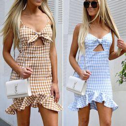 $enCountryForm.capitalKeyWord NZ - 2018 Newly Summer Sweet Women Ladies Dress 2 Style Sundress Sleeveless Strapless Bow Plaid Ruffles High Waist Mini Dress