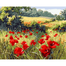 Framed Print Red Abstract NZ - Wild red poppy Hand-painted & HD Print Abstract Flower Art oil painting On Canvas Home Deco Wall Art High Quality l194