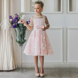 Cheap Short Flower Girl Dresses for Bohemia Beach Wedding Dresses Knee  Length Lace A-Line 2017 Junior Bridesmaid Kids Formal Party Dresses 5ea35535b