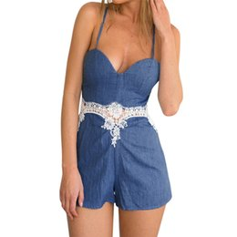 cd97cab8d6e4 Women Summer Strapless Jumpsuit Holiday Mini Playsuit Sexy V Neck Lace  Patchwork Beach Party Elegant Bodysuits Wholesale  L08