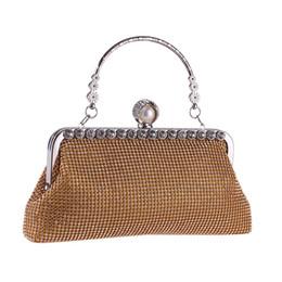 Ladies Metallic Handbags NZ - Fashion Women's Evening Party Clutch Metal Handle Flower Lady Flap Wedding Bridal Metallic Handbag Crystal Solid Pouch Wristlets