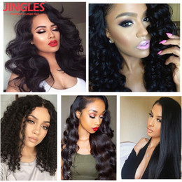 cheap loose body wave hair 2018 - 9A Jingleshair Brazilian full lace human hair wigs Straight Body Wave Kinky Curly Loose wave Deep wave human hair wigs w