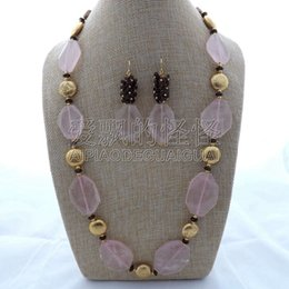 "porcelain earrings NZ - S122203 25"" Rose Smoky Necklace Earrings Set"
