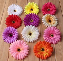 China 10cm 20pcs large Silk Gerbera Artificial Flower Head For Wedding Car Decoration DIY Garland Decorative Floristry Fake Flowers supplier flowers for wedding car decoration suppliers
