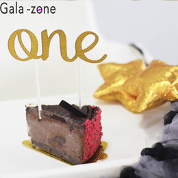 $enCountryForm.capitalKeyWord Australia - Gala-zone 5Pcs lot One Year Old Cake Insert Flag Birthday Cake Topper Gold and Silver Cupcake Flag For Baby Shower Decoration