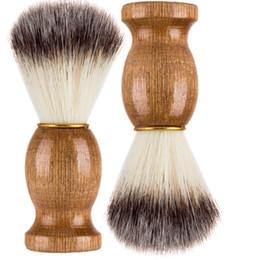 Best Men Hair Australia - New Barber Hair Shaving Razor Brushes Natural Wood Handle Beard Brush For Men Best Gift Barber Tool free DHL