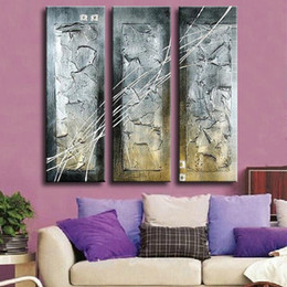 hand painted abstract canvas art Australia - 3 Panel Pictures Hand painted Abstract Graffiti Lines Oil Painting Handmade Home Decor Canvas Paintings Wall Art For Living Room
