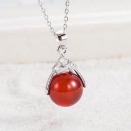 Оптовая мода серебряный кулон гарантировано 100% твердых стерлингового серебра 925 пробы с 12 мм красный агат шарик Pg2050