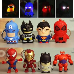 $enCountryForm.capitalKeyWord Australia - Superhero Batman Iron Man Spiderman Superman Captain America Keychain Mini Action Figure Toys LED Light Key Chains Ring Fashion Drop Ship