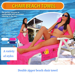 beach towels straps NZ - New Microfiber Beach Chair Cover Pool Lounge Chair Cover Blankets Portable With Strap Beach Towels Double Layer Thick Blanket
