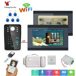 Discount doorbell intercom system wireless - Yobang Security 7inch 2 Monitors Wired Wifi RFID Password Video Door Phone Doorbell Intercom Entry System with wireless