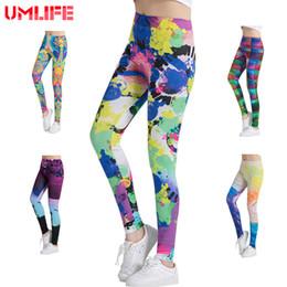 Wholesale Yoga Pants Canada - UMLIFE Women Yoga Pants High Elastic Fitness Quick Dry Sport Leggings Tights Printed Slim Bodybuilding Gym Female Trousers girls