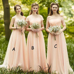 fairy prom short dress 2019 - Fairy Light Peach bridesmaid dresses junior Off The Shoulder Cheap A line Floor Length Country Bridesmaid Dresses Short