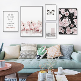 flamingo paintings 2019 - Nordic Flamingo butterfly Personality Phrase Canvas Painting Posters And Prints Art Wall Pictures Living Room Bedroom Ho
