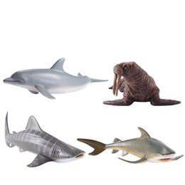 Girl simulation online shopping - Ocean Animal Model Solid Simulation Shark Whale Dolphin Toys Child Kid Early Education Ornament Intelligence Plastic Cement ms V