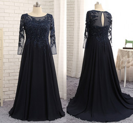 mother bride dresses navy white lace Australia - Vintage Navy Blue Mother Of The Bride Groom Dresses Long Sleeves Appliques Lace A-line V-neck Long Custom Made Winter Evening Party Gown