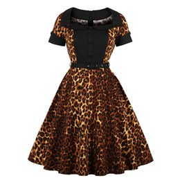 c1fb1ff272c Leopard Print Retro Women Dress Patchwork Sashes Pin Up Audrey Hepburn 70s  Rockabilly Swing Dresses Elegant Puls Size Robe Femme
