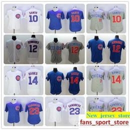 2c467640f51 2019 Men s Cubs High Quality 10 Ron Santo 12 Kyle Schwarber 14 Ernie Banks  23 Ryne Sandberg baseball Jerseys color white blue gray gree