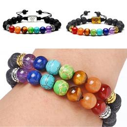 Yoga Charms Australia - Women Men Natural Lava Stone Bracelet Charms Tree of Life 7 Chakra Bracelet Adjustable Jewelry Energy Yoga Beads Fashion Bracelets D235S F