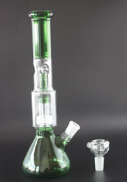 Inch Glass Downstem Australia - Beaker Glass Bong!Blue Premium Spiral Perc Glass Bongs Beaker Base Ice Pinch glass water pipes with downstem and bowl 13 inches