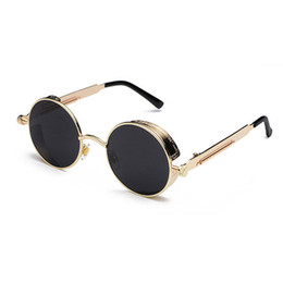 steampunk round designer sunglasses 2019 - High Quality Steampunk Sunglasses Men Women Metal Wrap Eyeglasses Round Shades Brand Designer Sun glasses Mirror UV400 d