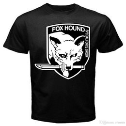 Neck Gear Australia - Anime Print Tee Fox Hound Metal Gear Solid old classic retro game T-Shirt Black Basic Tee O-Neck Streetwear Tees