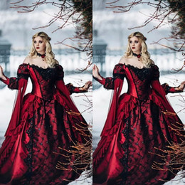 medieval wedding dresses lace NZ - Vintage Medieval Red and Black Gothic Wedding Dresses Off Shoulder Long Sleeves Lace Appliques Chapel Train Victorian Bridal Gowns Fall 2018