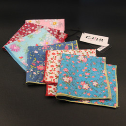 Printed Floral Cotton Handkerchiefs NZ - New Korean Fashion Designer High Quality Mens Print Floral Pocket Squares Handkerchiefs For Wedding Cotton 10pcs  Lot 24x24cm