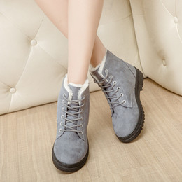 Ladies fLat boots shoes online shopping - Winter Lady Short Tube Snow Boots Keep Warm Cotton Padded Shoes Fashion Women Flat Heel Plush Insole cj Ww