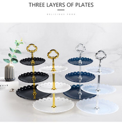 house plates Australia - 3 tier PP wedding cupcake rack decor party fruit tray candy dessert decoration rack home kitchen tool helper dinner table centerpieces decor