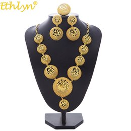 $enCountryForm.capitalKeyWord NZ - whole saleEthlyn Necklace Earrings Ring Jewelry Set For Women Girls Gold Color Round Arab Ethiopian Bridal Wedding Party Gifts S194
