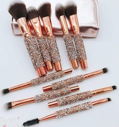 Wholesale Free Shipment NEW set Professional Diamond Brushes Set Fundation Powder Cream Blush Glitter Brush Kit Beauty Tool For Women Gifts