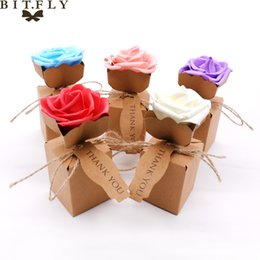 Wholesale Boxes Packaging Australia - bag f BITFLY 10pcs Kraft DIY Vintage paper Candy Boxes Gift Bag with rose Flower Chocolate Packaging Party Wedding Decoration Favors