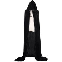 vampire halloween accessories UK - Adult Child Black Velvet Hooded Vampire Cape Cape Halloween Party Cloak Size 60-170 Cosplay Death Gothic Heroic Kids Cloak