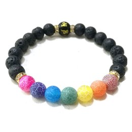 imitation beads Australia - Six Words Mantra Agate Chakras Black Lava Stone Beads Bracelet Essential Oil Diffuser Bracelet Volcanic Rock Beaded Hand Strings