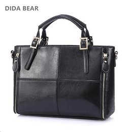 ladies handbags designer Canada - asual handbag DIDA BEAR Fashion patchwork designer cattle split leather bags women handbag brand high quality ladies shoulder bags women ...