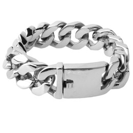 Wholesale Hot Sale Stainless steel bracelet 9inch 20mm Heavy Men's Stainless Steel Curb Cuban Chain Bracelet - free shipping