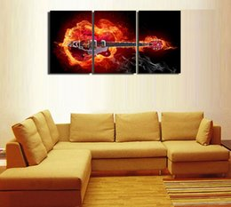 guitar canvas art UK - 3Panels,Flame guitar,Home Modern Canvas Oil Painting Print Wall Art Decor for Living Room Home Decoration Framed Unframe