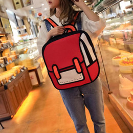 b9a9351bff Flyone Fashion Cute Student Bags Women Backpack 3D Jump Style 2D Drawing  Cartoon Back Bag Comic Unisex Knapsack Bolos FY0189 Z70